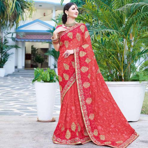Capricious Coral Red Colored Partywear Embroidered Georgette Silk Saree