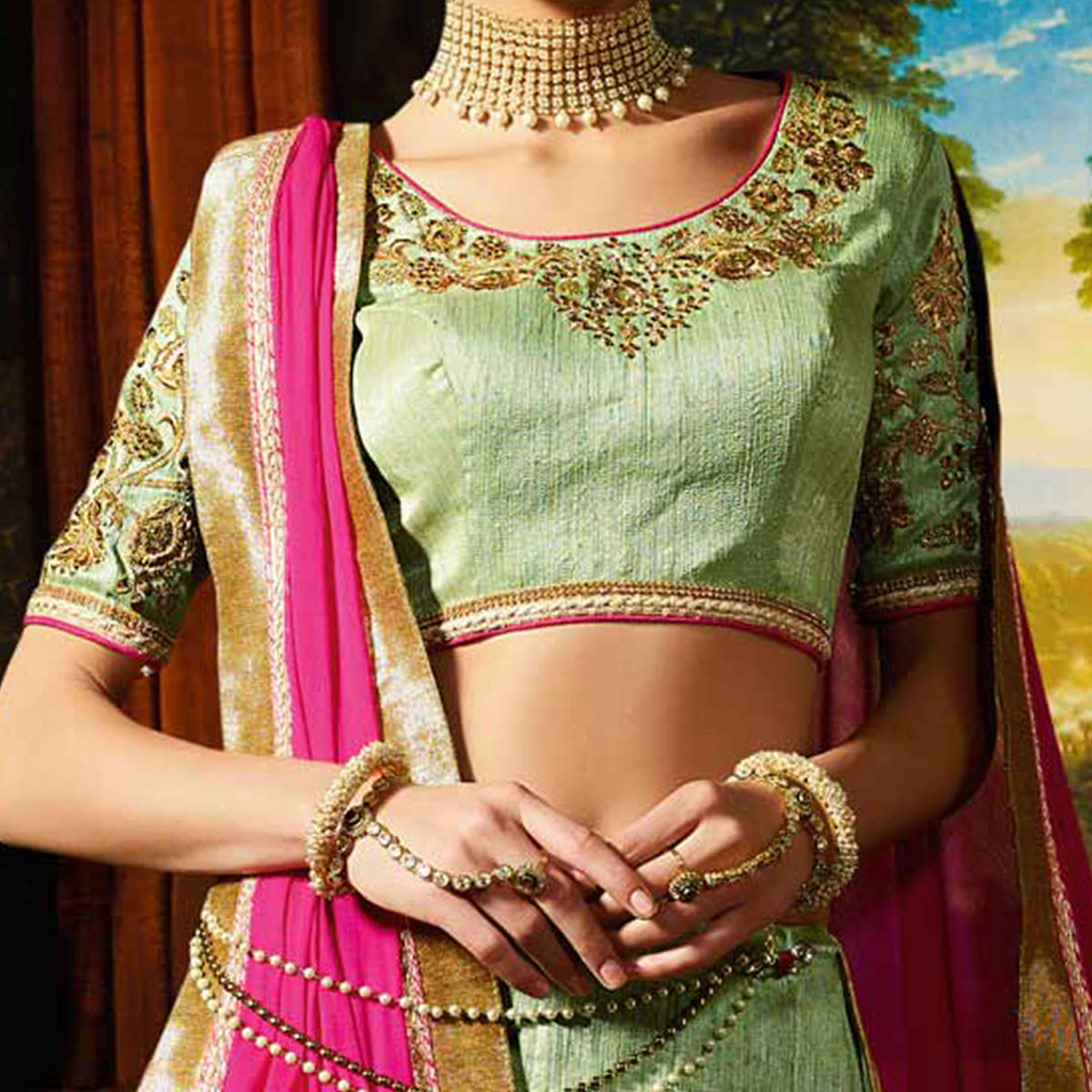 Green - Pink Wedding Wear Designer Lehenga