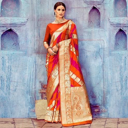 Intricate Orange Colored Festive Wear Woven Silk Saree