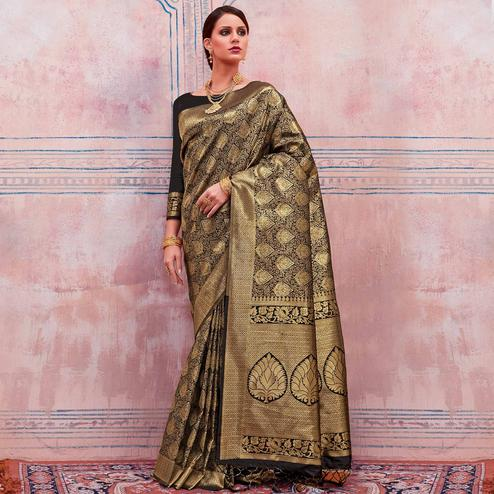 Arresting Golden-Black Colored Festive Wear Woven Silk Saree