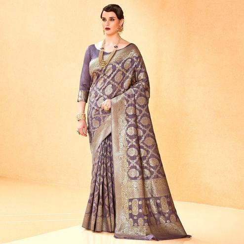 Appealing Light Purple Colored Festive Wear Woven Silk Saree