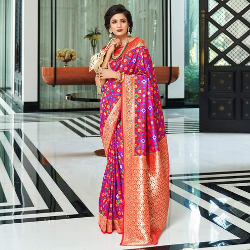 Energetic Dark Pink Colored Festive Wear Woven Patola Silk Saree
