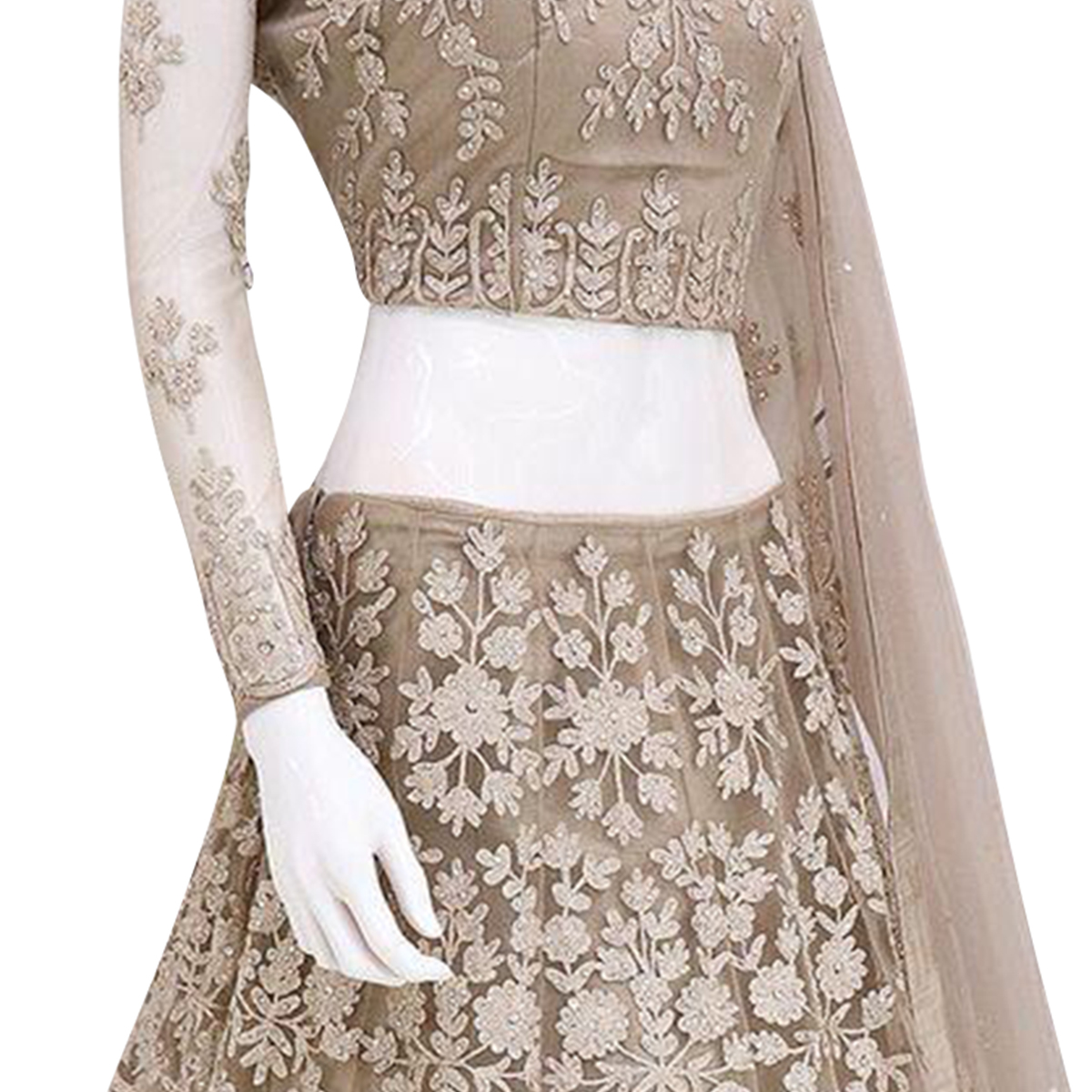 Breathtaking Light Brown Colored Partywear Floral Embroidered Netted Lehenga Choli