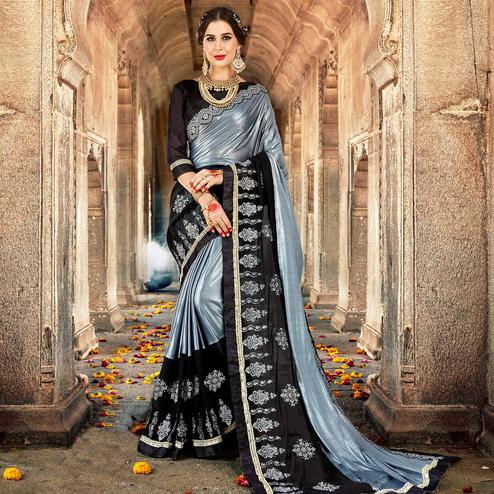 Captivating Grey-Black Colored Partywear Embroidered Georgette Saree