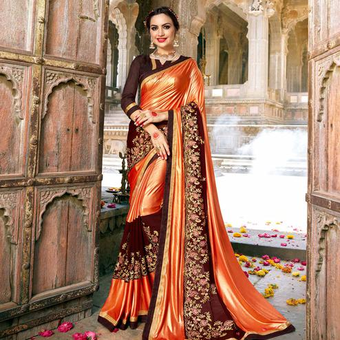 Innovative Orange-Brown Colored Partywear Embroidered Georgette Saree