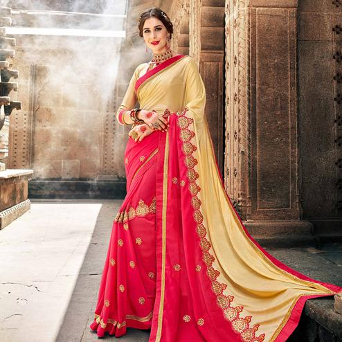 Eye-catching Pink Colored Partywear Embroidered Georgette Saree