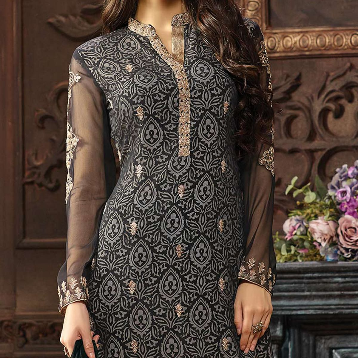 Black Straight Cut Georgette Suit