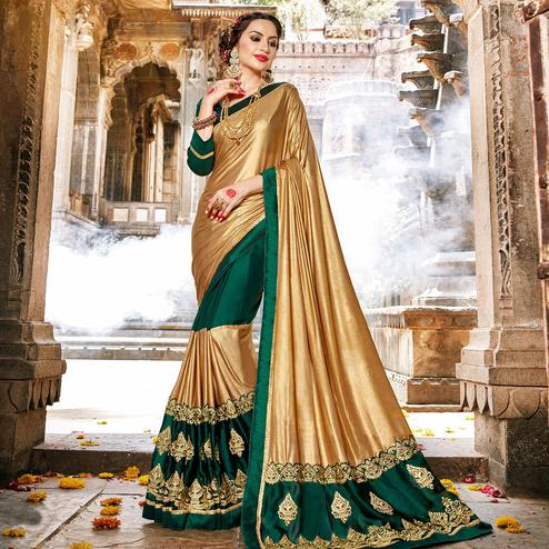 Blissful Golden-Green Colored Partywear Embroidered Georgette Saree