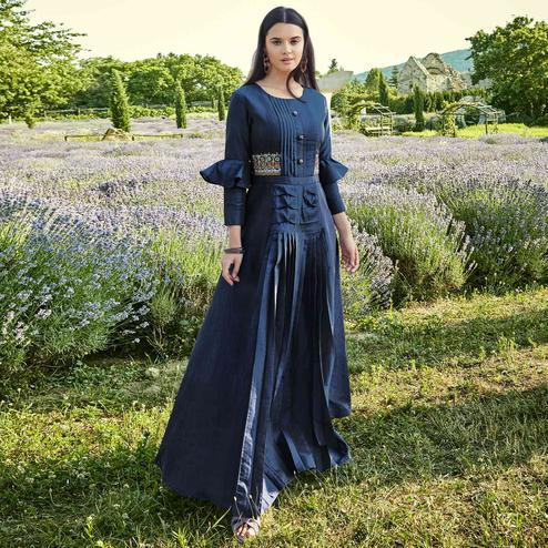 Prominent Navy Blue Colored Partywear Embroidered Silk-Cotton Slub Gown
