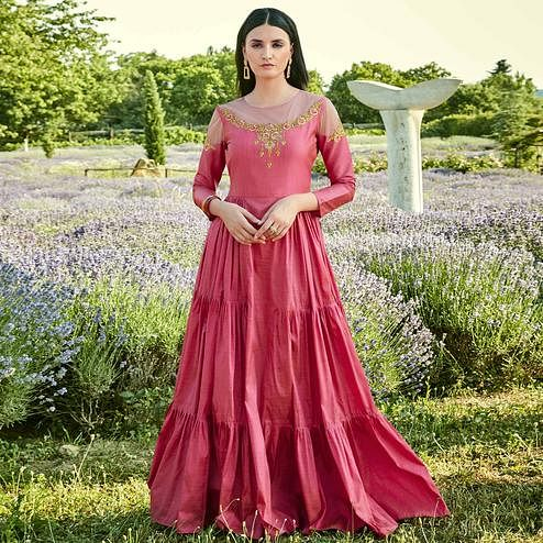 Appealing Pink Colored Partywear Embroidered Silk-Cotton Slub Gown