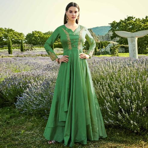 Groovy Green Colored Partywear Embroidered Silk-Cotton Slub Gown