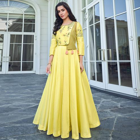 Classy Yellow Colored Party Wear Floral Embroidered Silk Gown