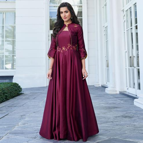 Prominent Wine Colored Party Wear Floral Embroidered Silk Gown