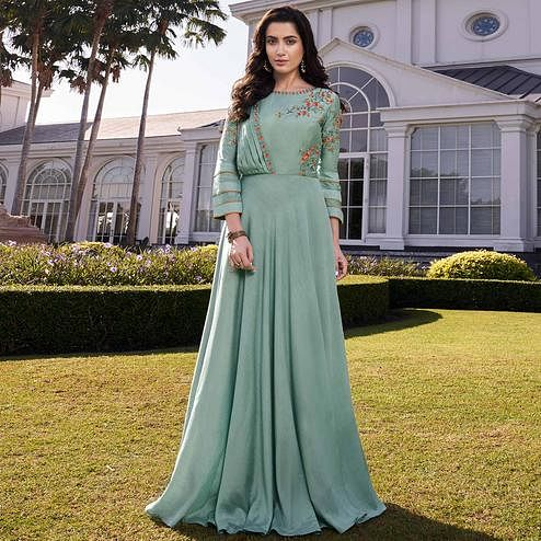 Appealing Light Aqua Green Colored Party Wear Floral Embroidered Silk Gown