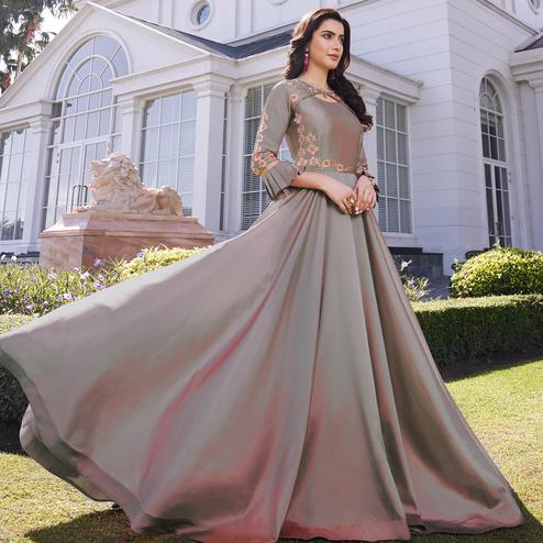 Capricious Grey Colored Party Wear Floral Embroidered Silk Gown