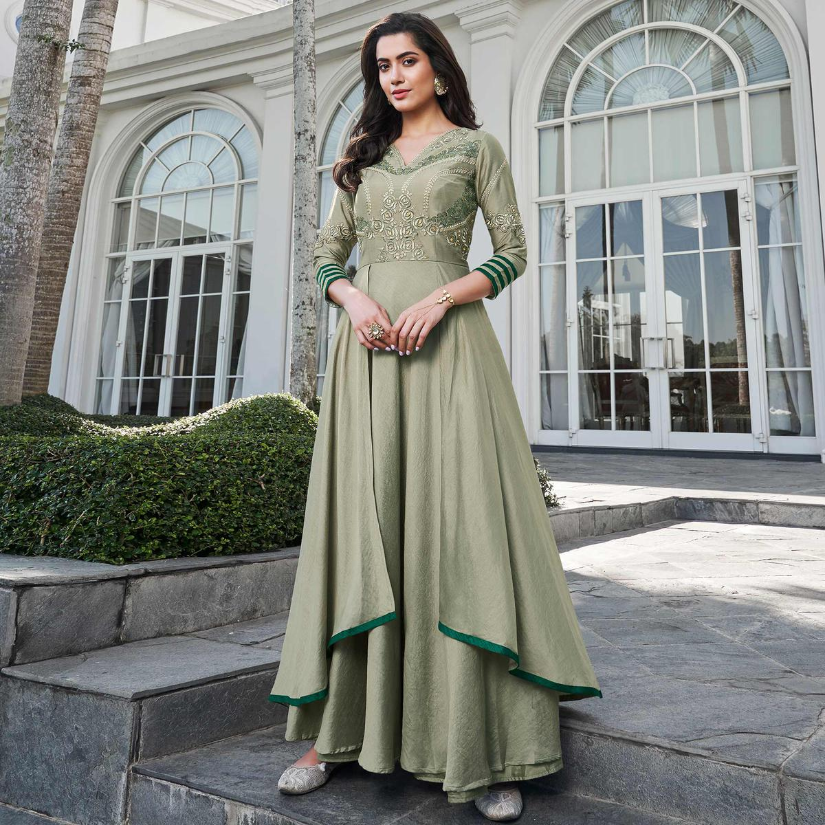 Entrancing Light Olive Green Colored Party Wear Floral Embroidered Silk Gown