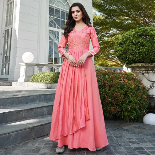 Adorning Pink Colored Party Wear Floral Embroidered Silk Gown