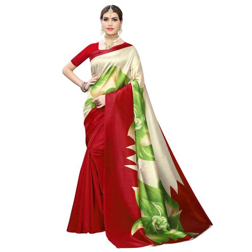 Preferable Red-Cream Colored Casual Wear Floral Printed Art Silk Saree