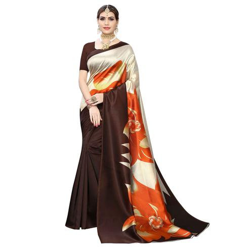 Marvellous Brown-Cream Colored Casual Wear Floral Printed Art Silk Saree