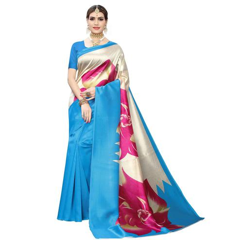 Pretty Blue-Cream Colored Casual Wear Floral Printed Art Silk Saree