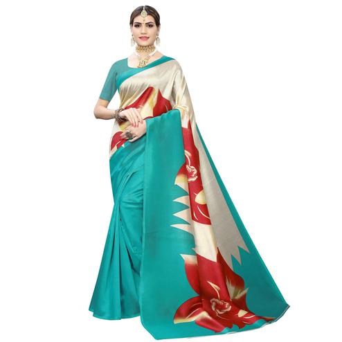 Alluring Green-Cream Colored Casual Wear Floral Printed Art Silk Saree
