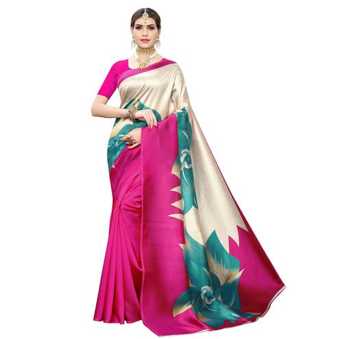 Flaunt Pink-Cream Colored Casual Wear Floral Printed Art Silk Saree