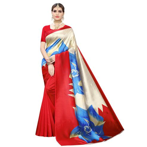 Stunning Coral Red-Cream Colored Casual Wear Floral Printed Art Silk Saree