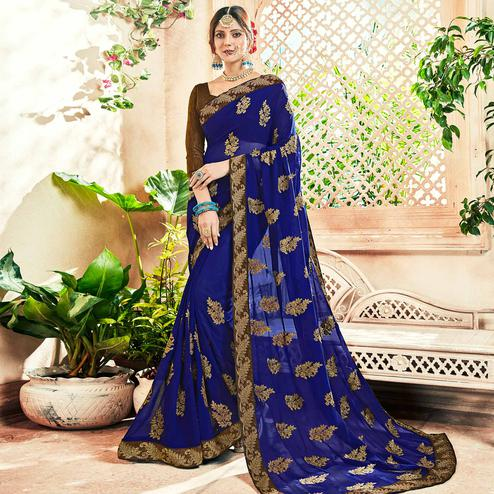 Fantastic Blue Colored Party Wear Floral Embroidered Georgette Saree