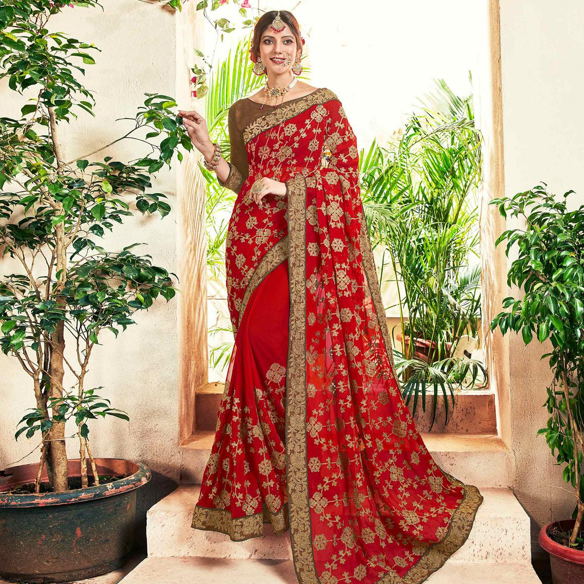 Amazing Red Colored Party Wear Floral Embroidered Georgette Saree