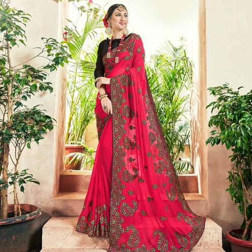 Blissful Pink Colored Party Wear Floral Embroidered Georgette Saree