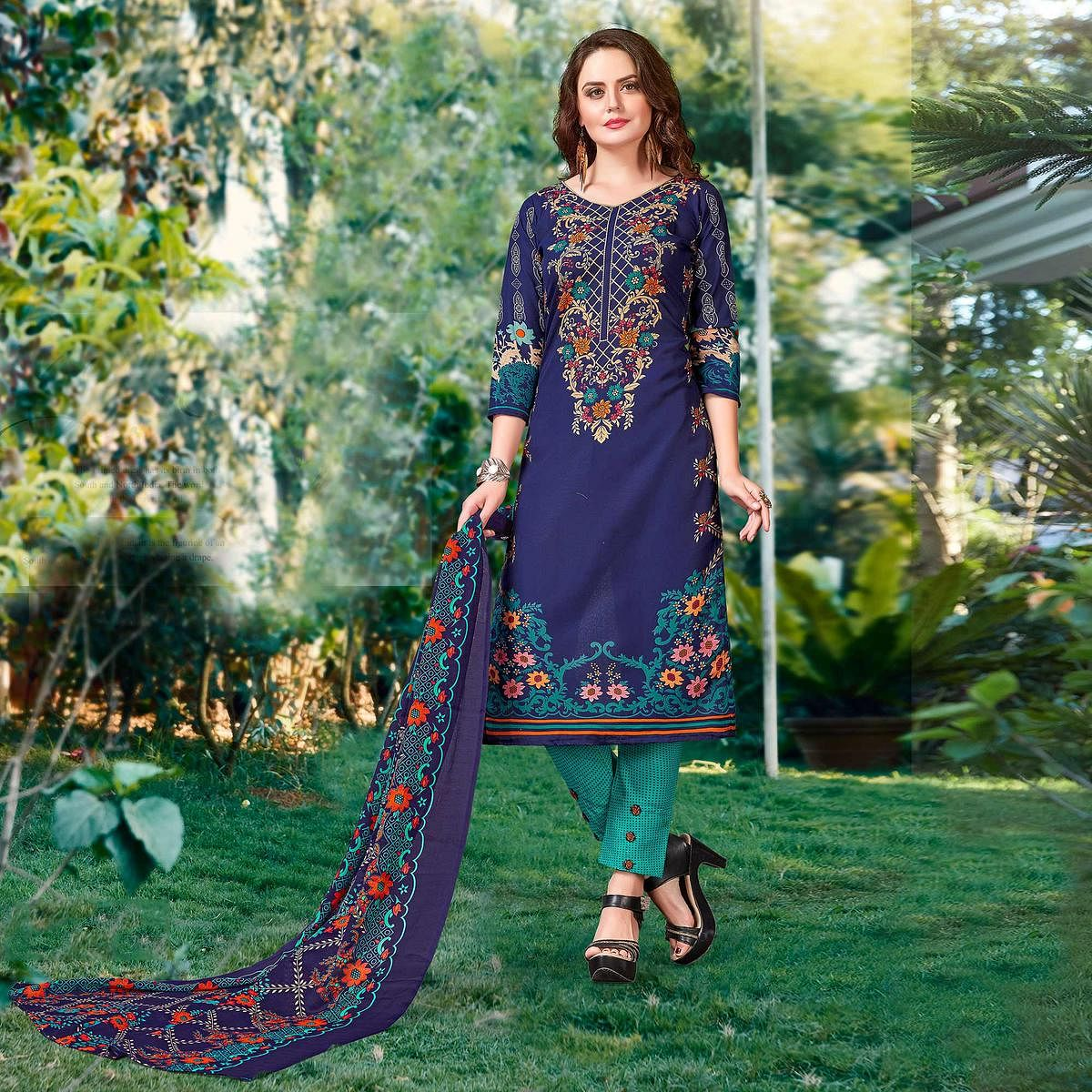 Blue - Green Digital Printed Work Suit