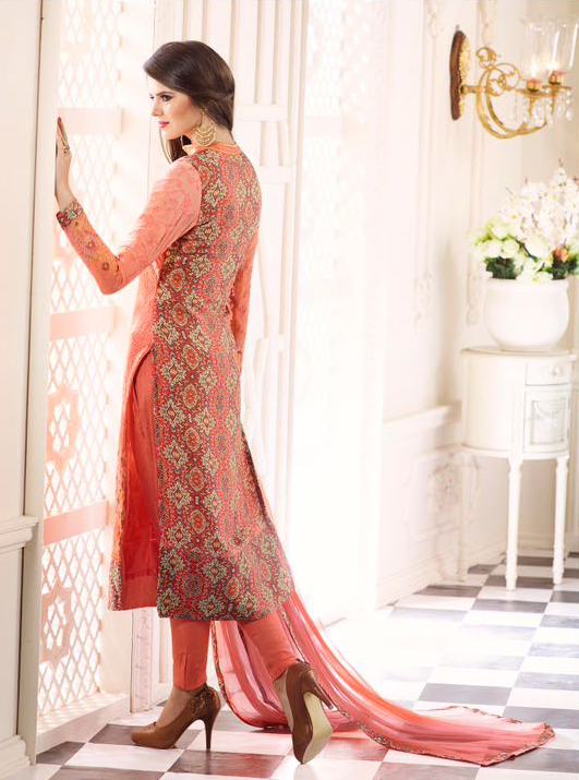 Peach Fancy Georgette Salwar Suit