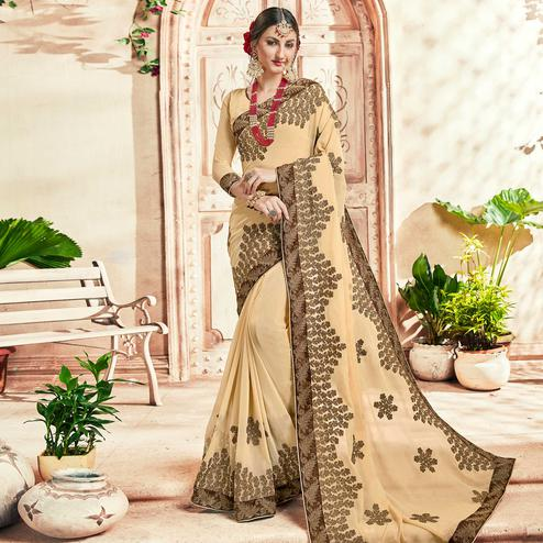 Ideal Cream Colored Party Wear Floral Embroidered Georgette Saree