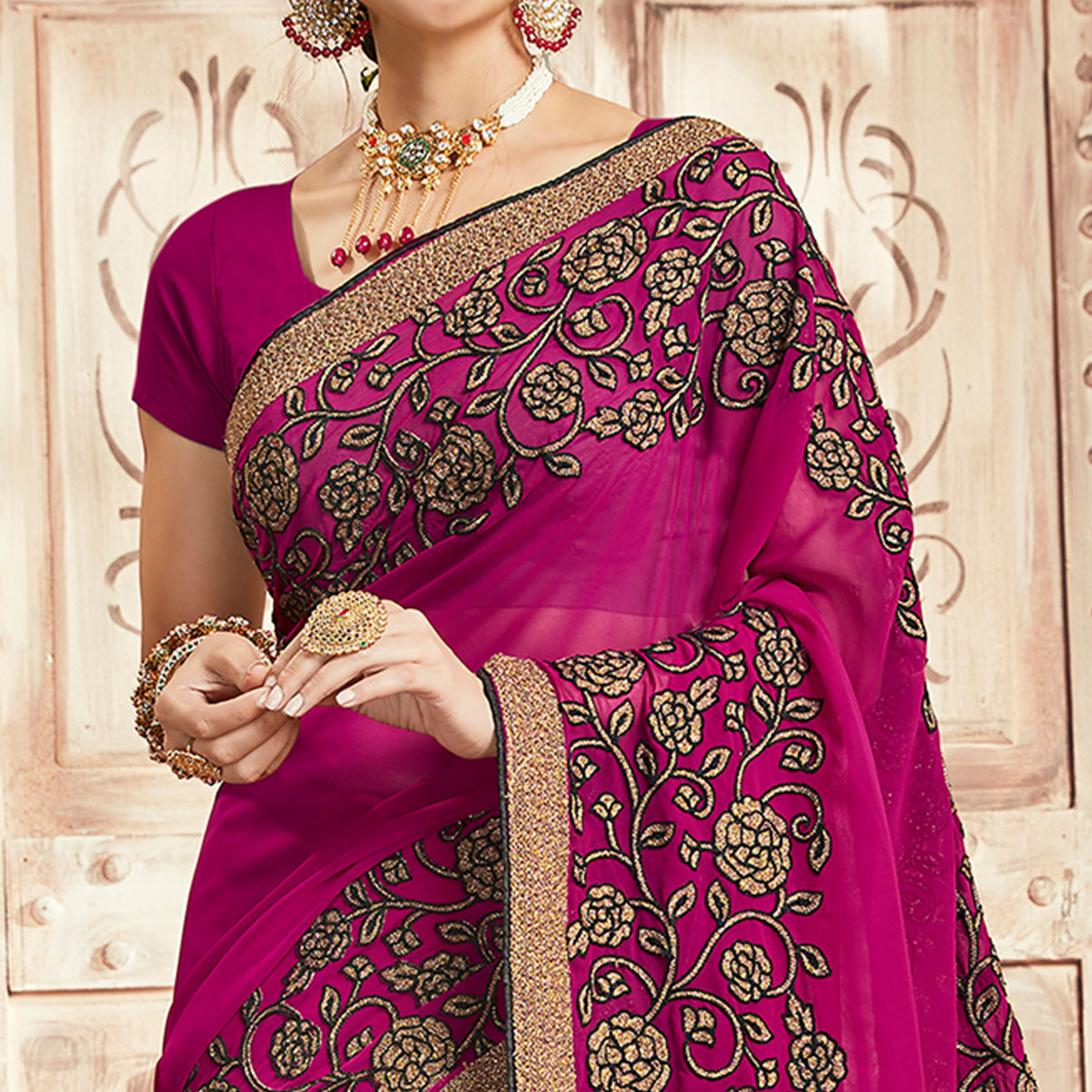Lovely Magenta Pink Colored Party Wear Floral Embroidered Georgette Saree