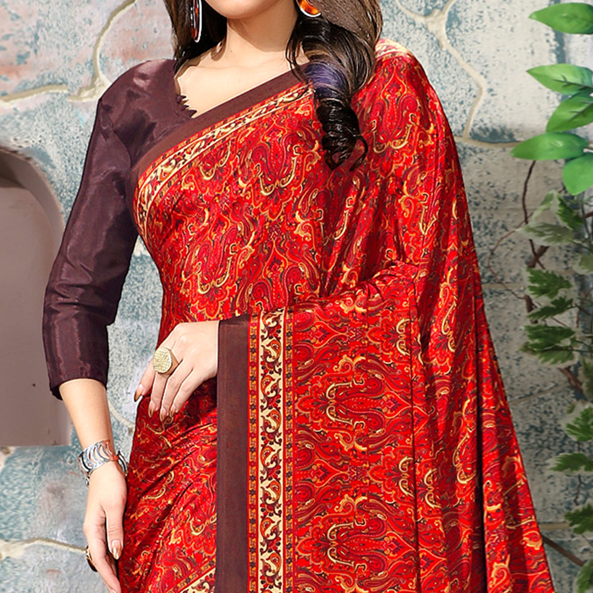 Adorable Red Colored Casual Wear Printed Crepe Saree