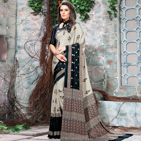 Attractive Off White-Black Colored Casual Wear Printed Crepe Saree