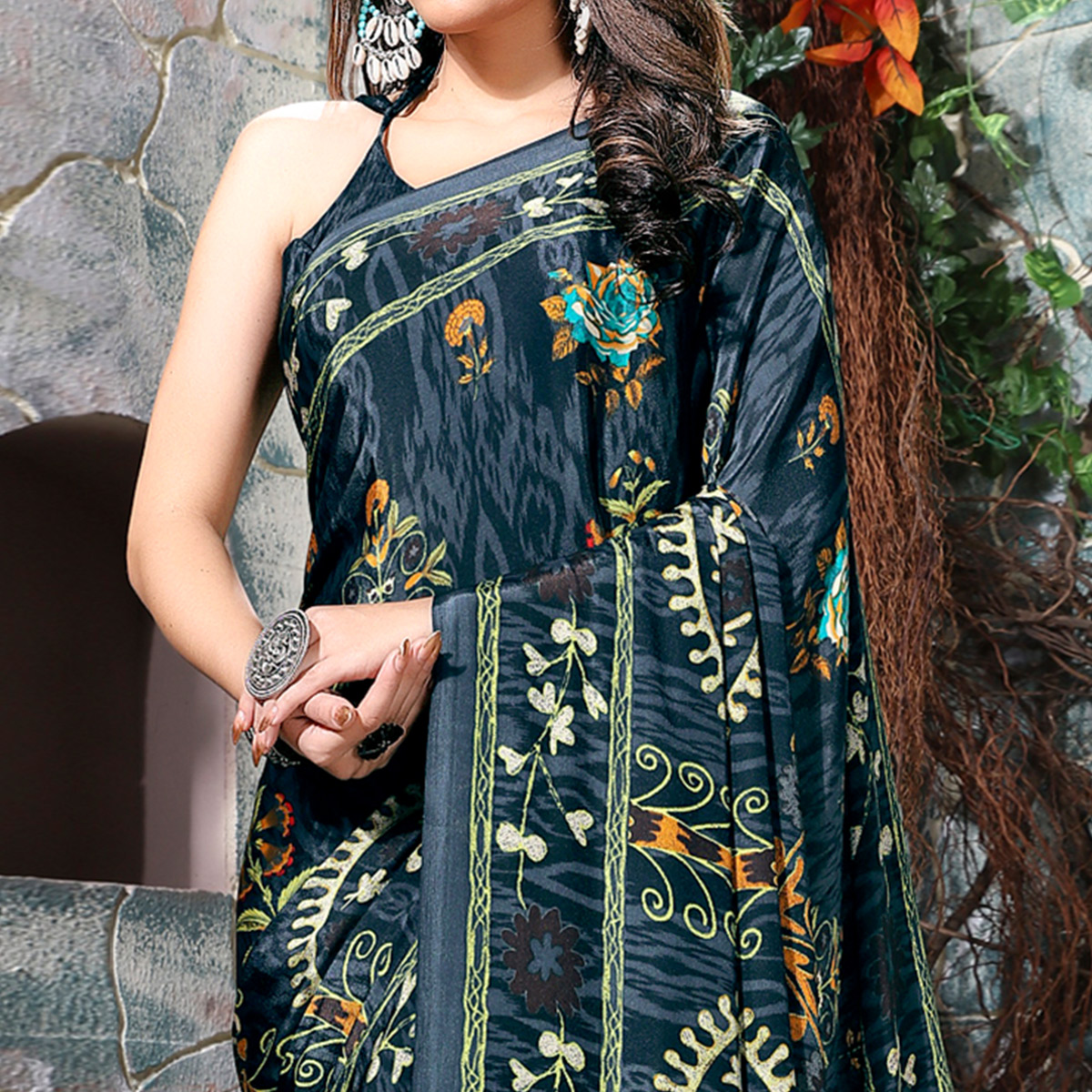Blooming Dark Grey Colored Casual Wear Printed Crepe Saree