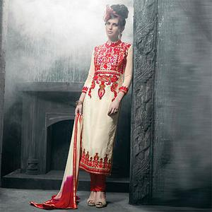 Red- Cream Party Wear Salwar Suit