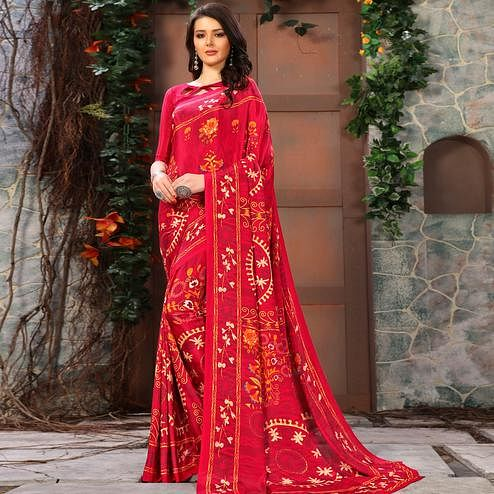 Fantastic Pink Colored Casual Wear Printed Crepe Saree