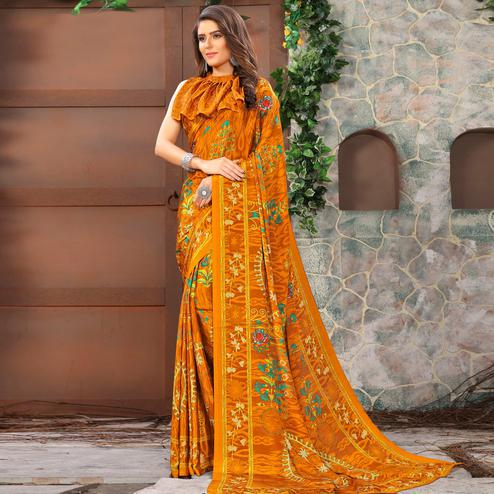 Amazing Mustard Yellow Colored Casual Wear Printed Crepe Saree