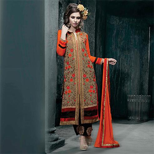Orange Party Wear Georgette Churidar Suit