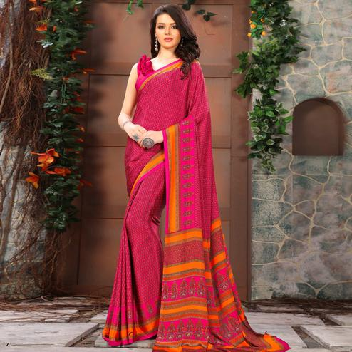 Ideal Pink Colored Casual Wear Printed Crepe Saree