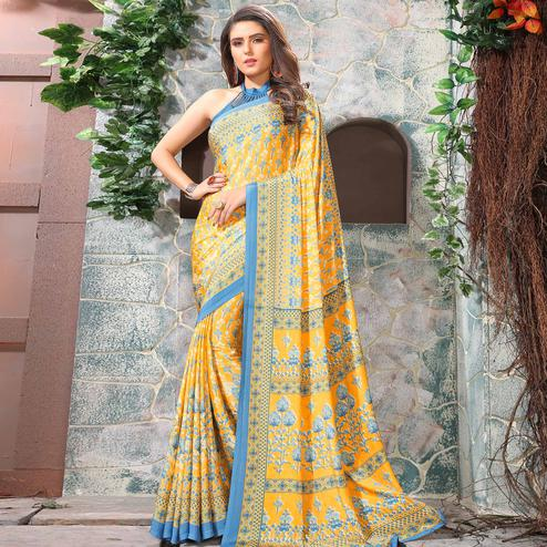 Imposing Yellow Colored Casual Wear Printed Crepe Saree