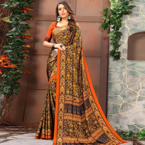 Majesty Multi Colored Casual Wear Printed Crepe Saree