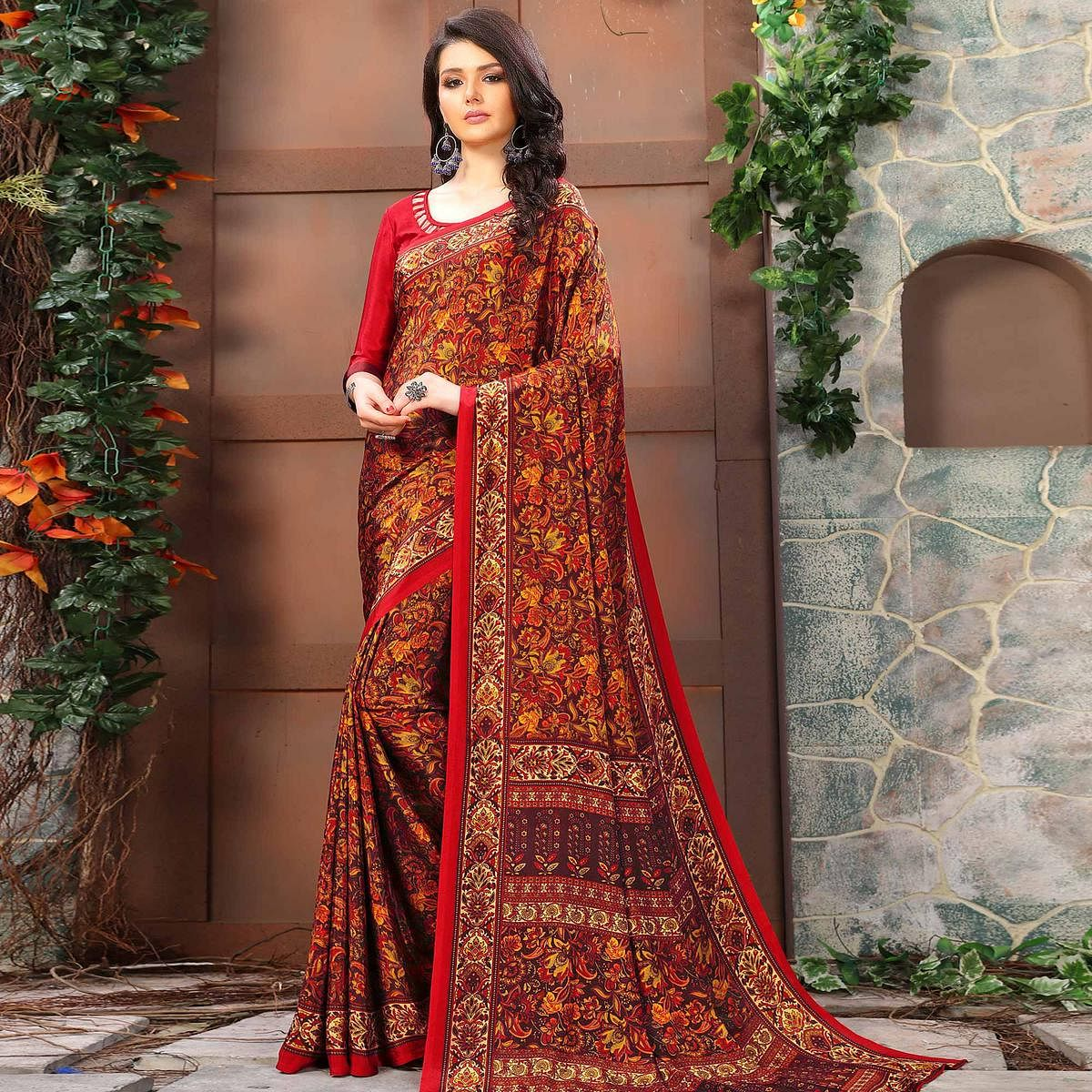 Impressive Red Colored Casual Wear Printed Crepe Saree