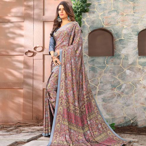 Mesmerising Grey Coloured Casual Wear Printed Crepe Saree