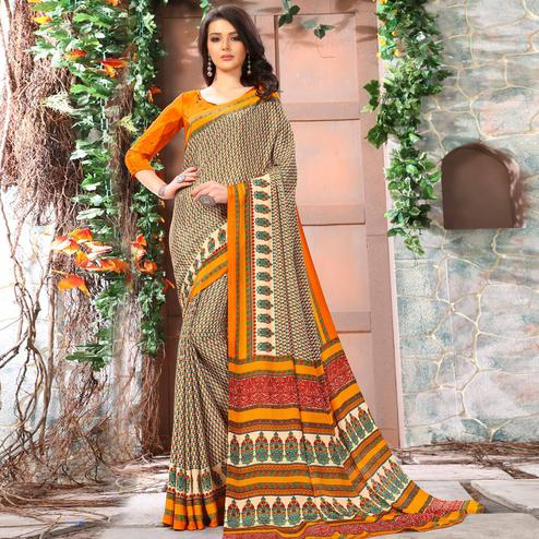 Pleasance Beige-Yellow Coloured Casual Wear Printed Crepe Saree