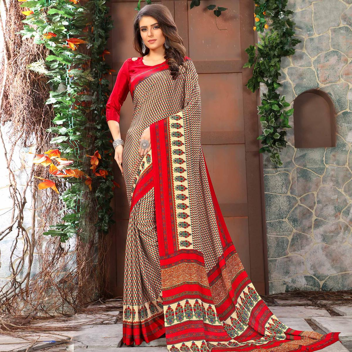 Excellent Beige-Red Coloured Casual Wear Printed Crepe Saree