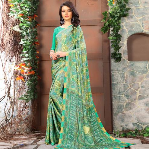 Ethnic Aqua Green Coloured Casual Wear Printed Crepe Saree