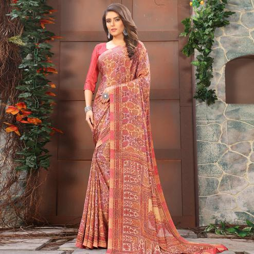 Ravishing Pink Coloured Casual Wear Printed Crepe Saree